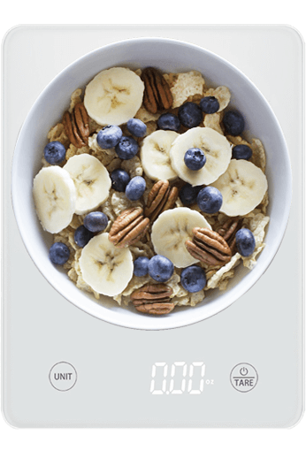 Easycarb scale with bowl of fruit and cereal